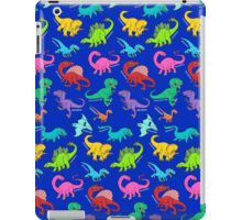 Dinosaurs rainbow pattern blue background iPad Case/Skin