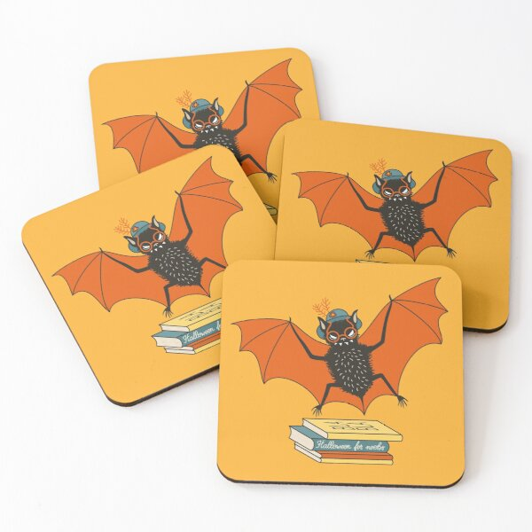 Bat granny in the library  Coasters (Set of 4)