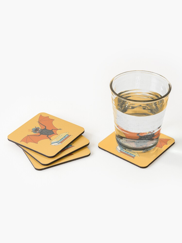 Alternate view of Bat granny in the library  Coasters (Set of 4)