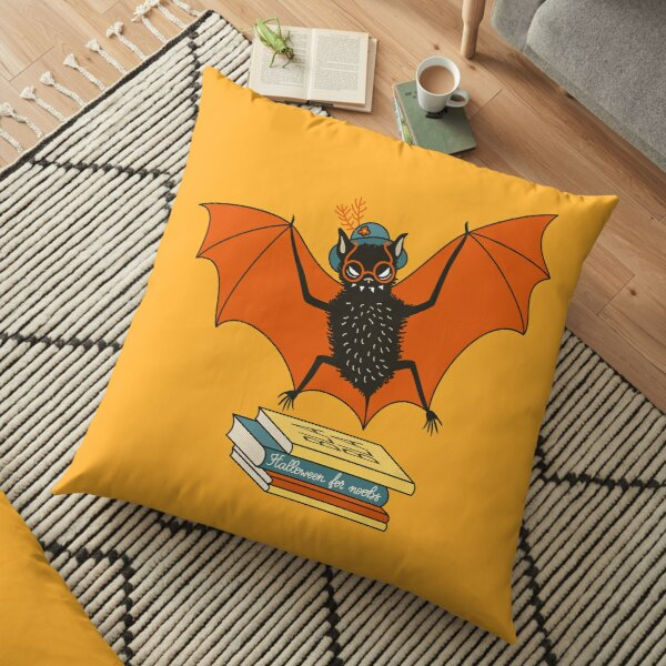 Bat granny in the library  Floor Pillow