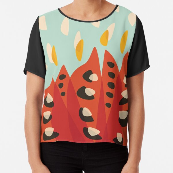 Abstract Red Tulip Flower In Spring Chiffon Top