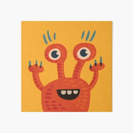 Cute Orange Monster Is Funny Too Art Board Print
