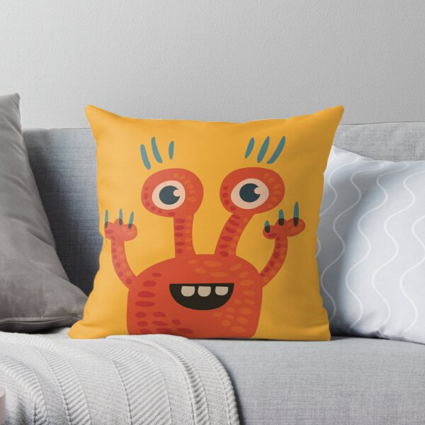 Cute Orange Monster Is Funny Too Throw Pillow
