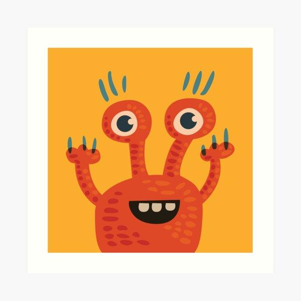 Cute Orange Monster Is Funny Too Art Print