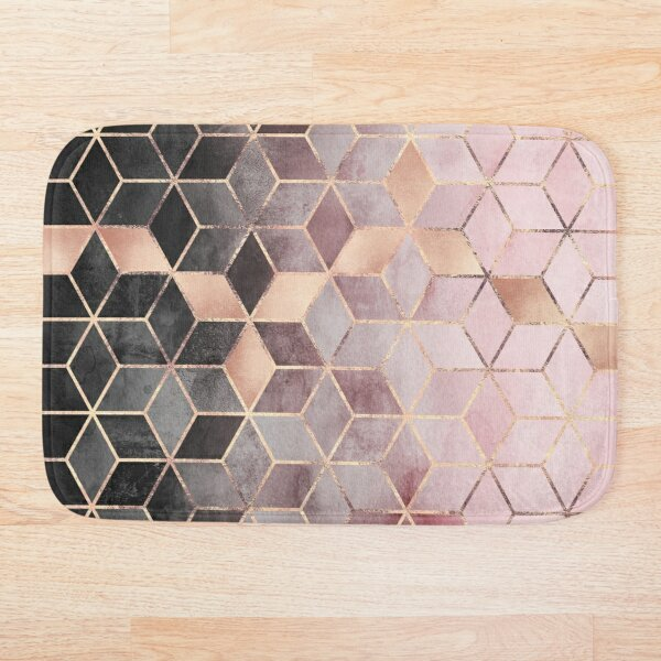 Pink And Grey Gradient Cubes Bath Mat