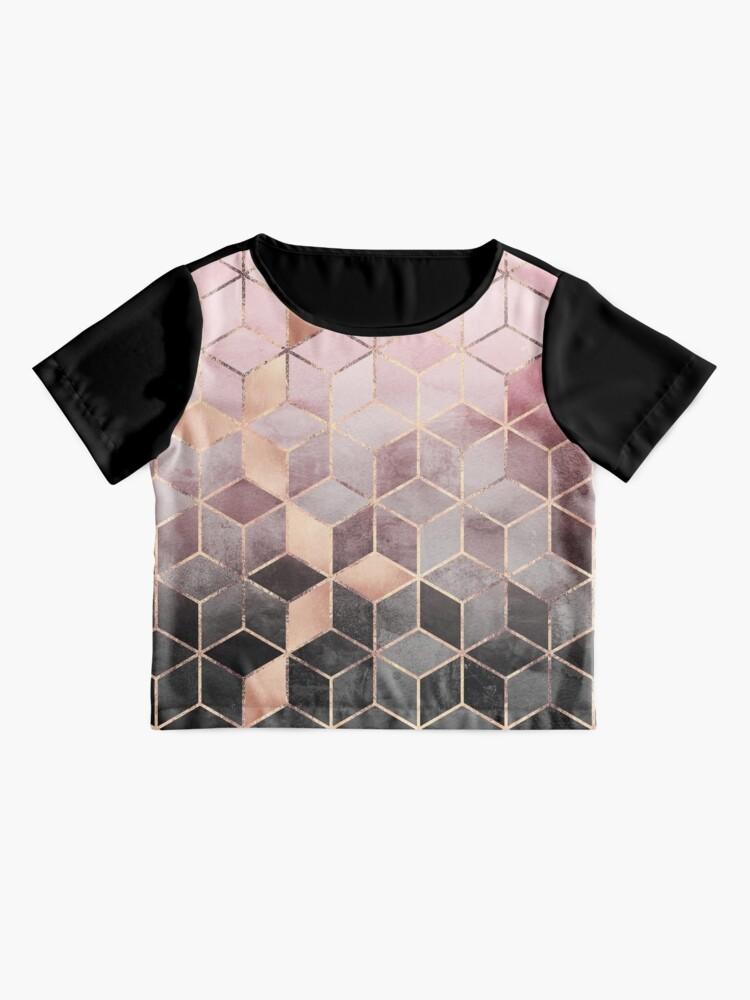 Alternative Ansicht von Rosa und graue Farbverlaufswürfel Chiffon Top