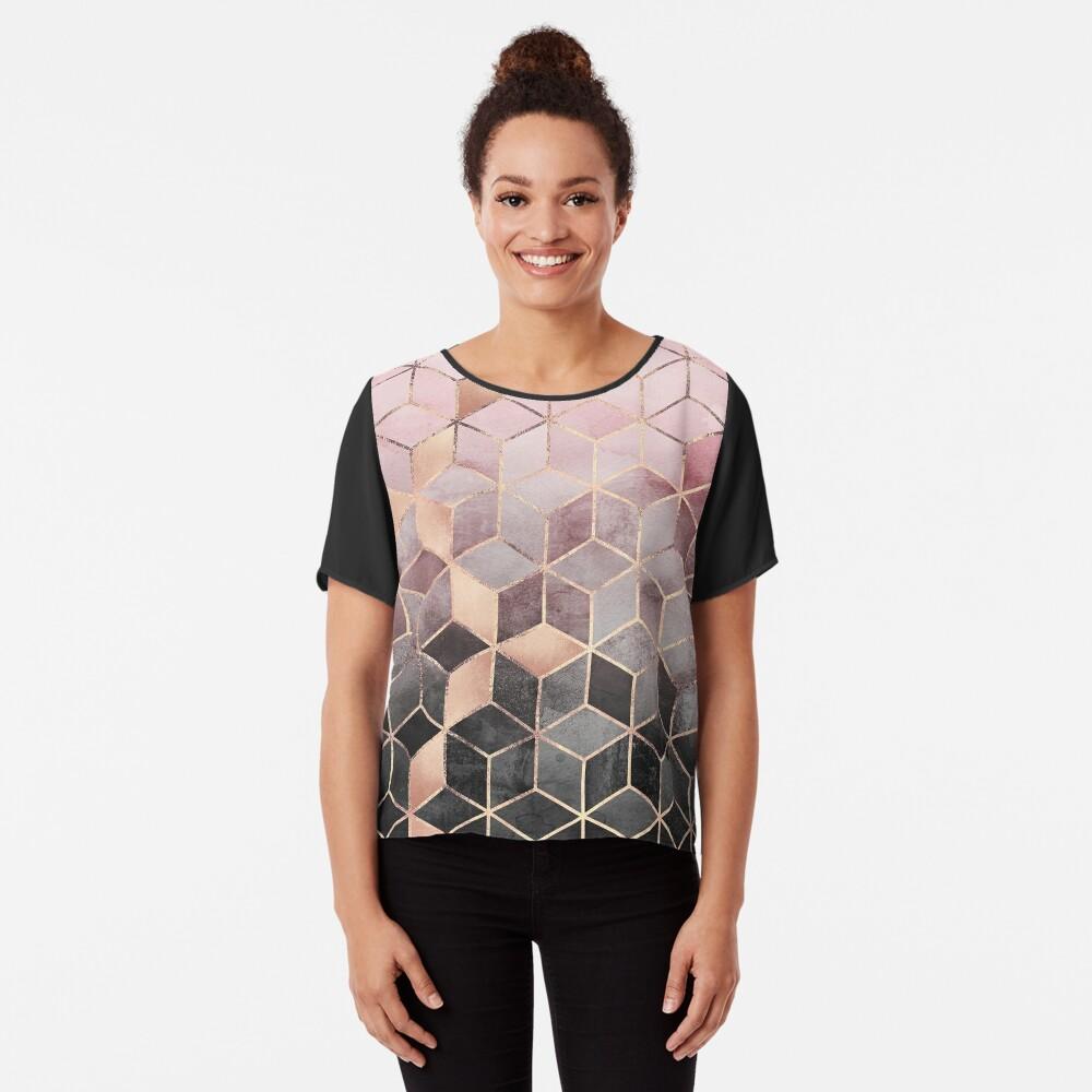 Rosa und graue Farbverlaufswürfel Chiffon Top