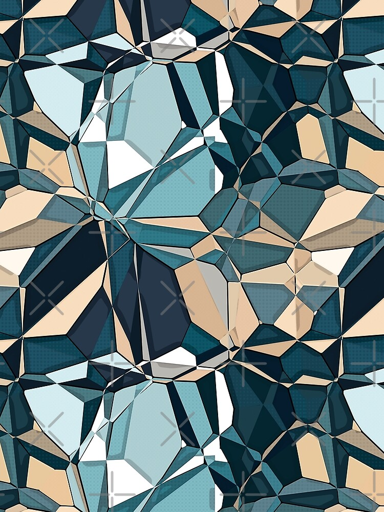 Turquoise And Tan Geometric Pattern by perkinsdesigns