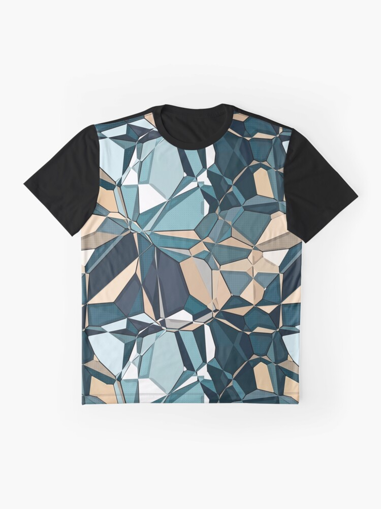 Alternate view of Turquoise And Tan Geometric Pattern Graphic T-Shirt