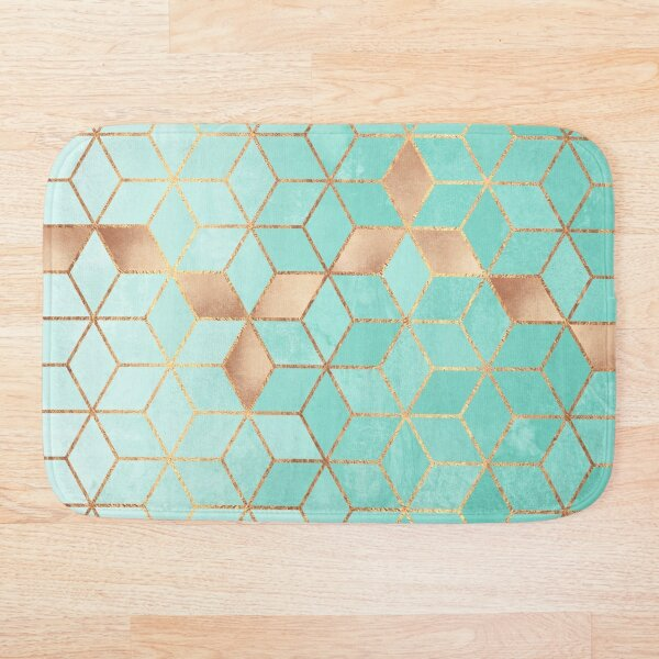 Soft Gradient Aquamarine Bath Mat