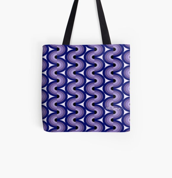 Ultra Violet tonal waves All Over Print Tote Bag