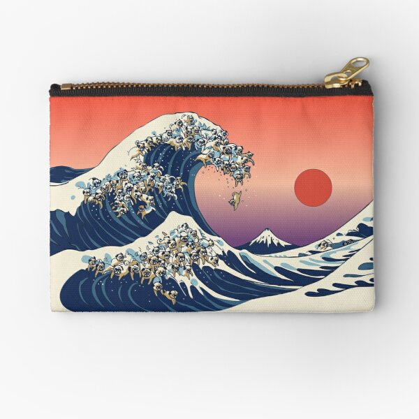 The Great Wave of Pug Zipper Pouch