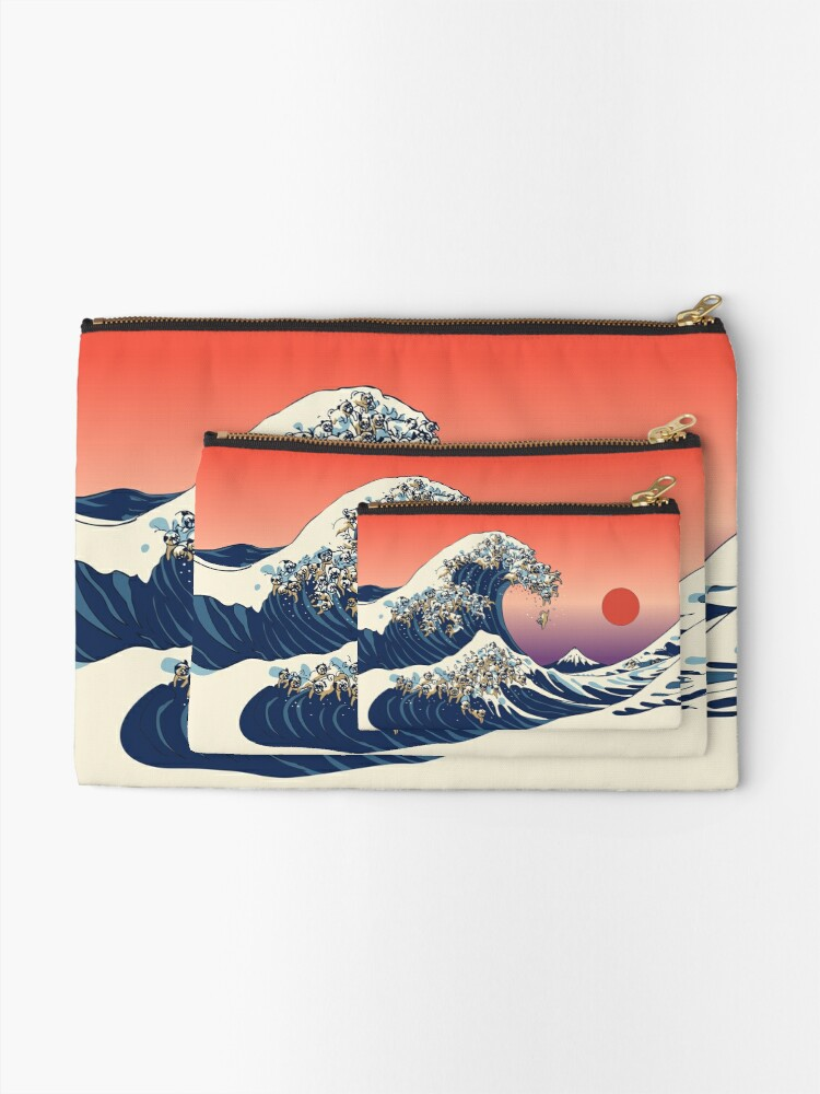 Alternate view of The Great Wave of Pug Zipper Pouch