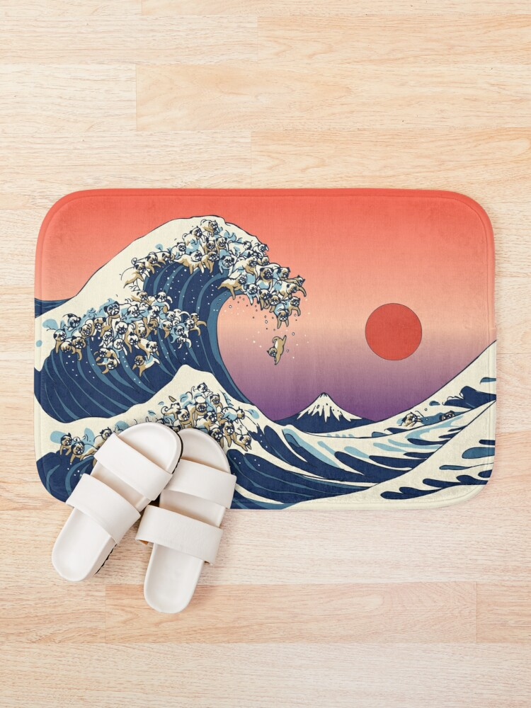 Alternate view of The Great Wave of Pug Bath Mat