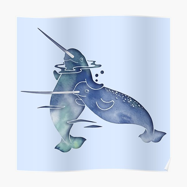 Blue Sea Narwhal Poster