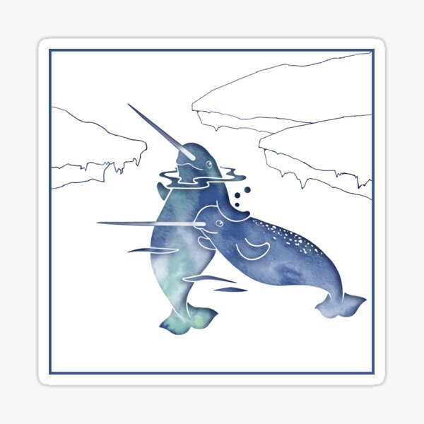 Blue Sea Narwhal Sticker