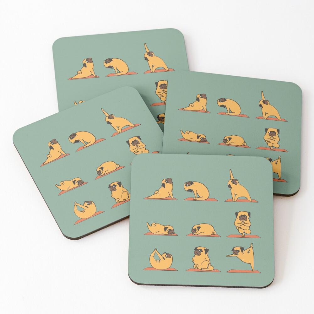 Pug Yoga Coasters (Set of 4)
