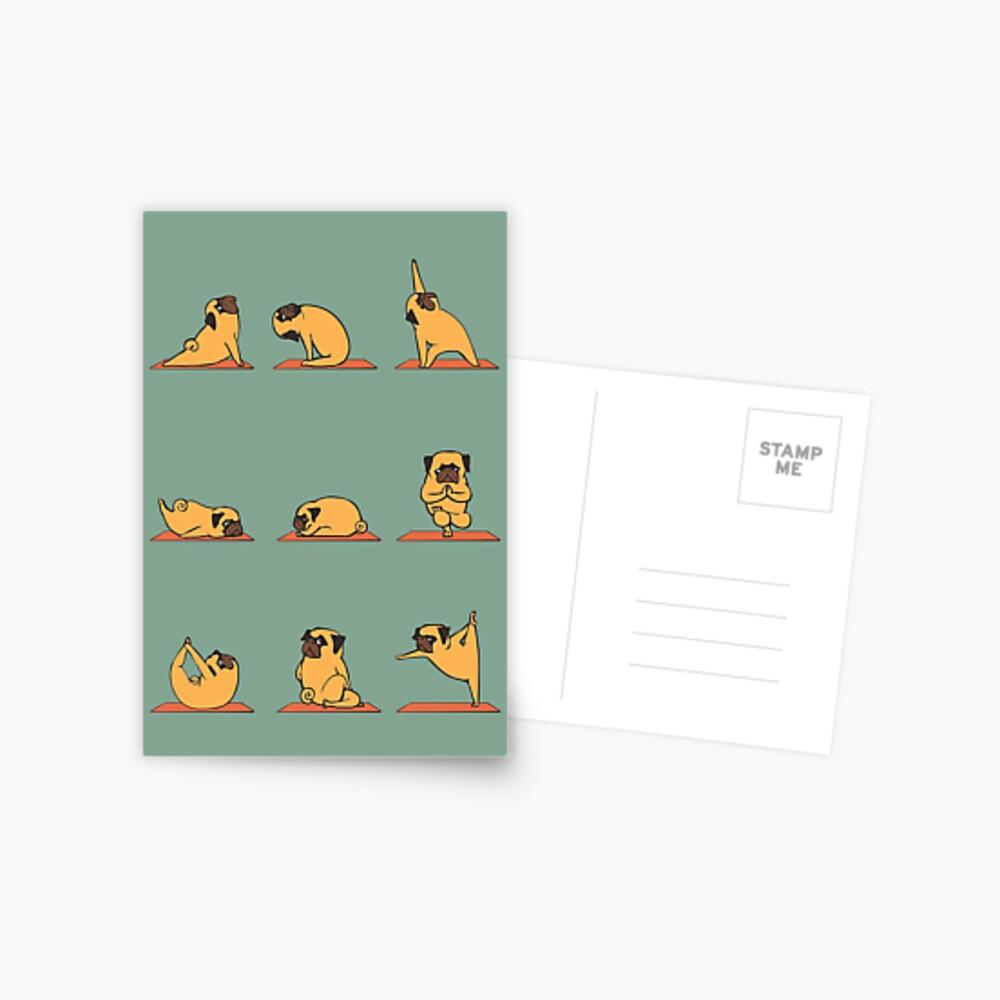 Pug Yoga Postcard