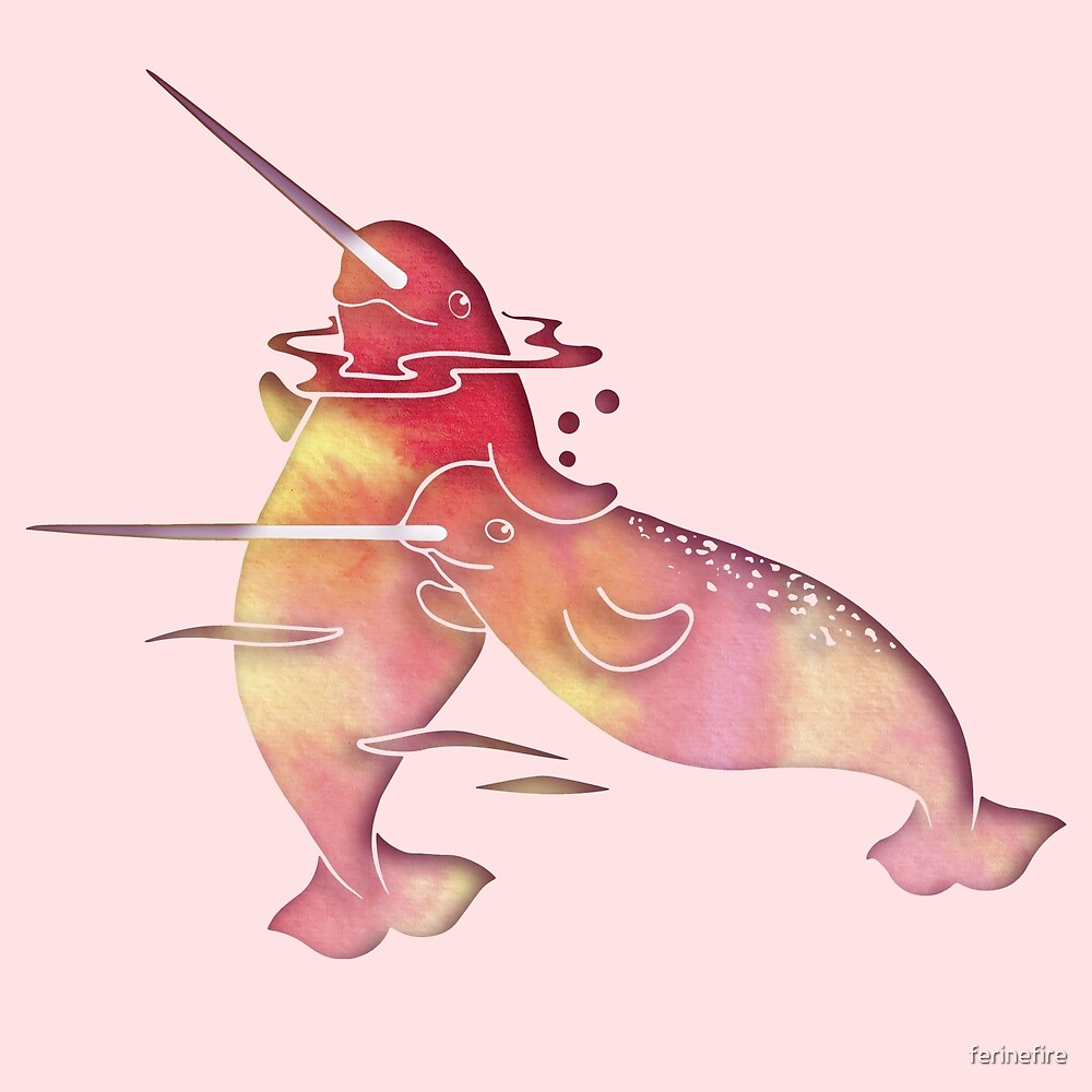 Peach Sea Narwhal by ferinefire