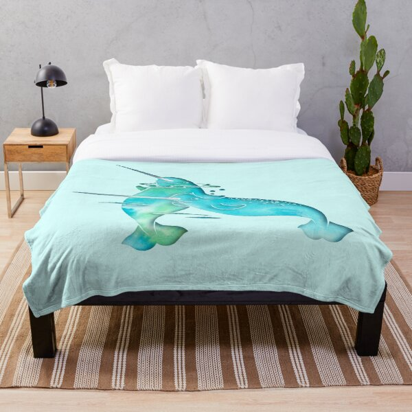 Aqua Sea Narwhal Throw Blanket