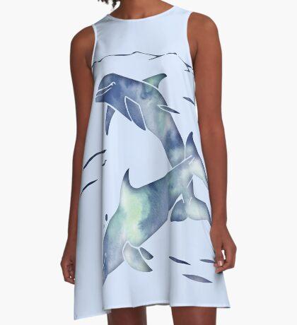 Blue Sea Dolphins A-Line Dress