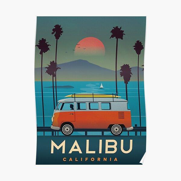 Vintage Airline Travel Poster - Malibu Poster