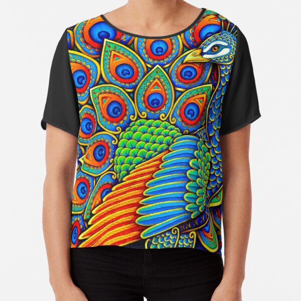Colorful Paisley Peacock Rainbow Bird Chiffon Top