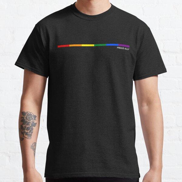 Proud Ally Horizontal Rainbow Striped Classic T-Shirt