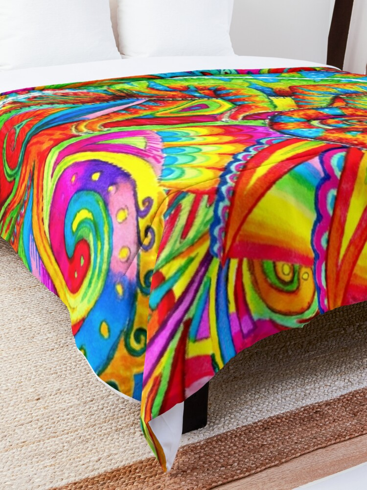 Alternate view of Psychedelizard Psychedelic Chameleon Colorful Rainbow Lizard Comforter