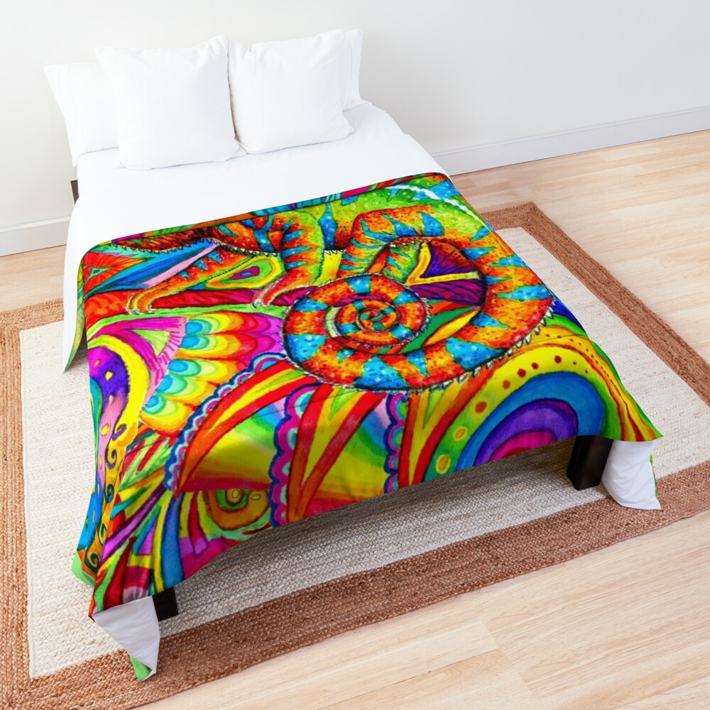 Psychedelizard Psychedelic Chameleon Colorful Rainbow Lizard Comforter