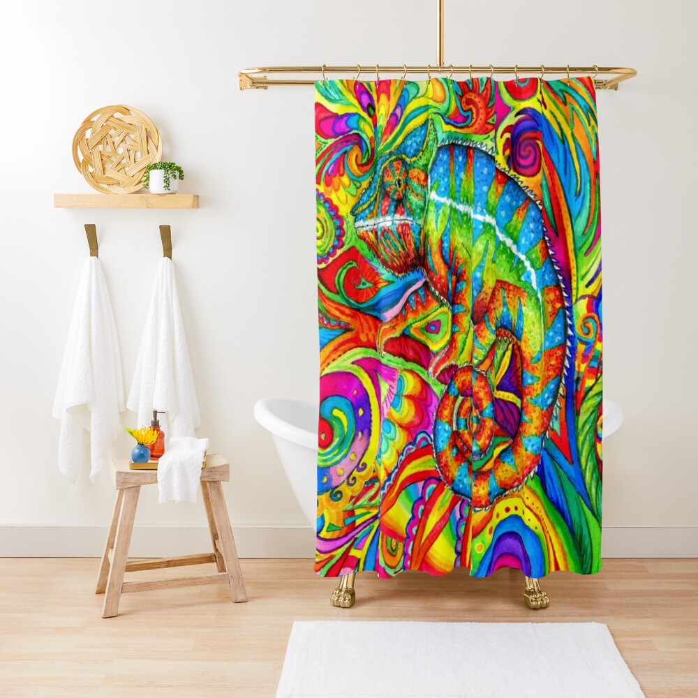 Psychedelizard Psychedelic Chameleon Colorful Rainbow Lizard Shower Curtain