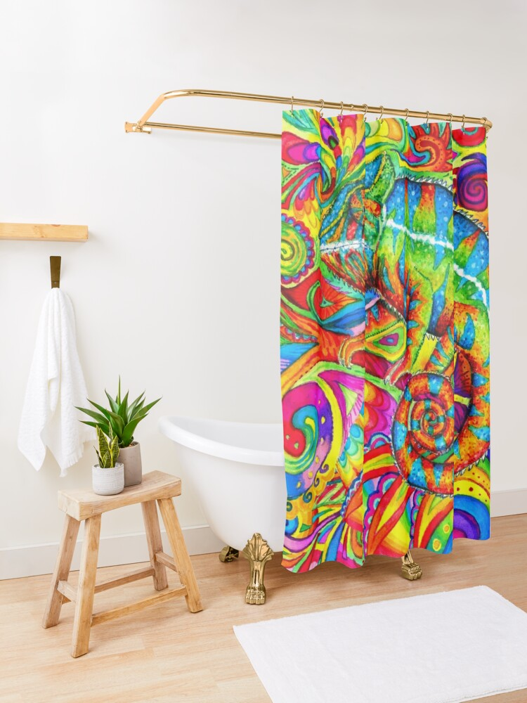 Alternate view of Psychedelizard Psychedelic Chameleon Colorful Rainbow Lizard Shower Curtain