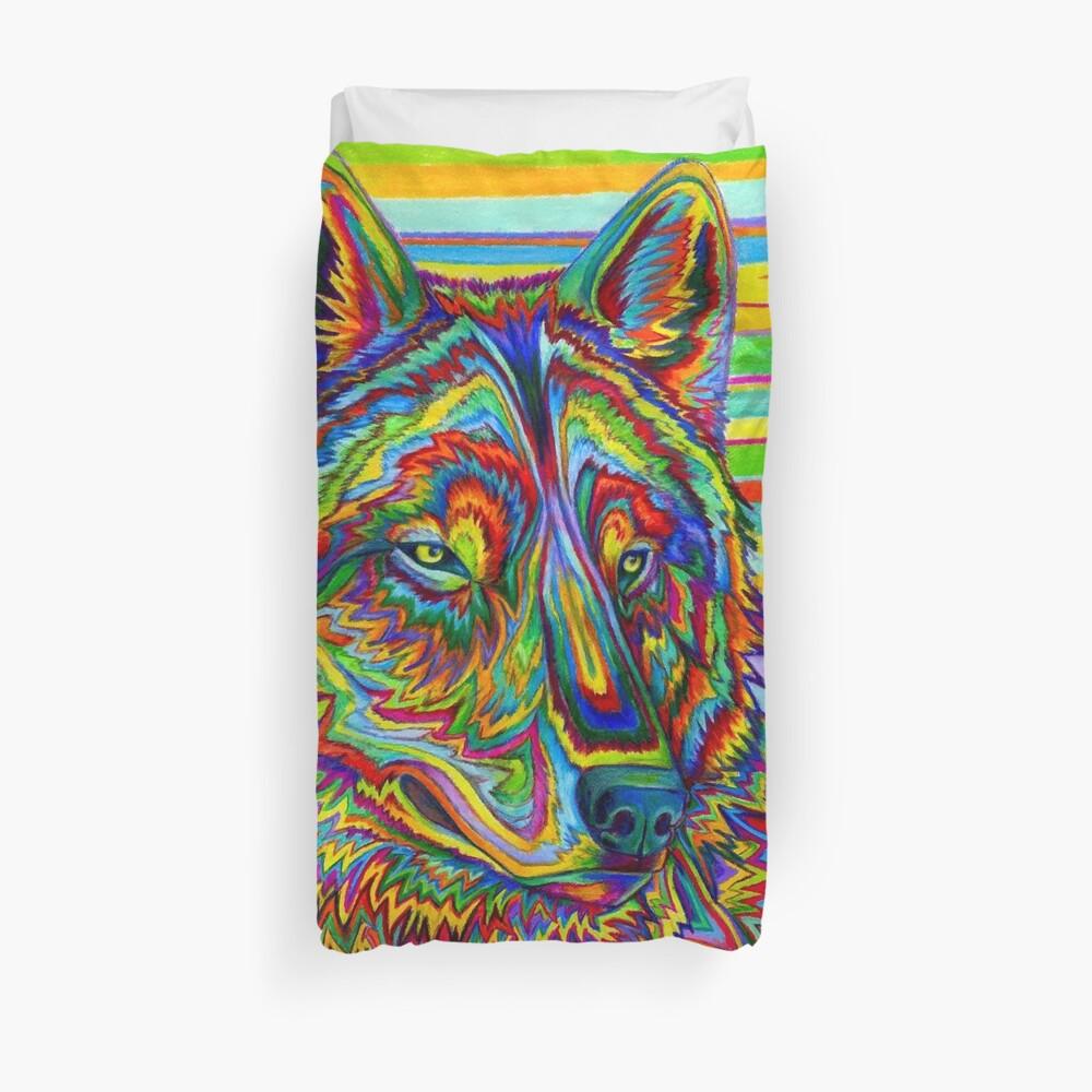 Colorido Psychedelic Rainbow Wolf Funda nórdica