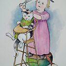 Kleiner Friseur: Nettes kleines Mädchen, das Katzenhaar, nach viktorianischer Malerei schneidet von Joyce Geleynse