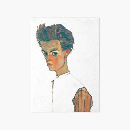 EGON SCHIELE - Self Portrait With Striped Shirt Art Board Print