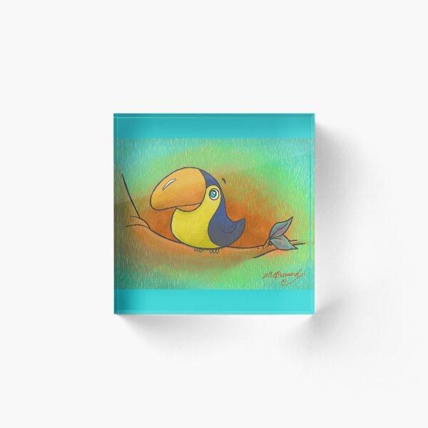 Baby Bird Smiling in the Rain! Acrylic Block