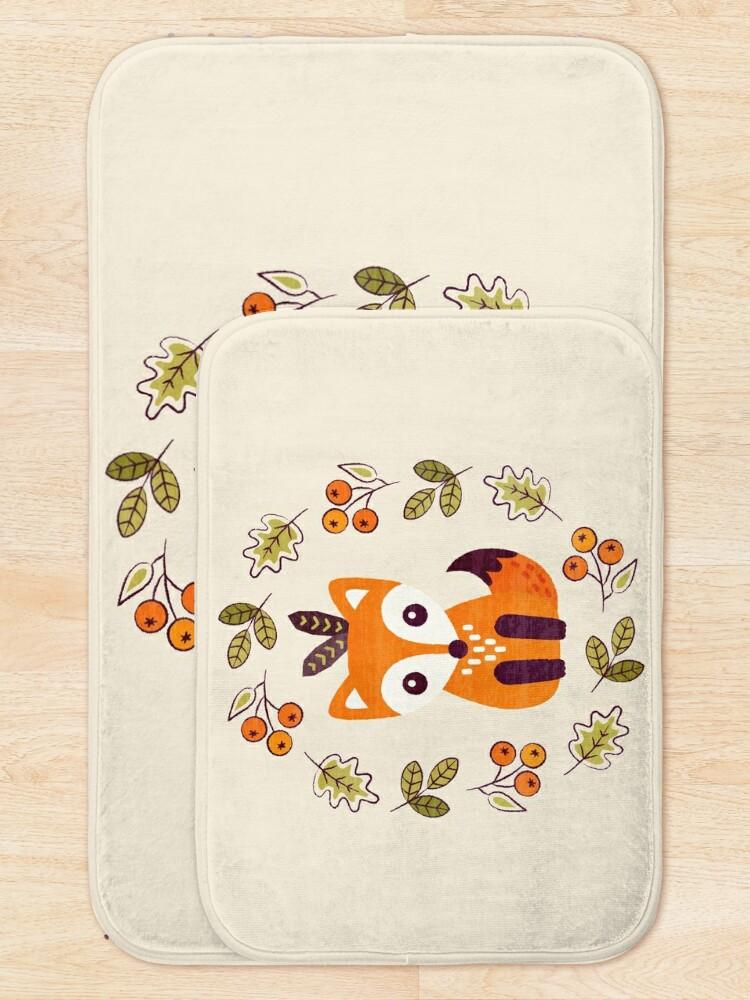 Alternate view of Little Fox with Autumn Berries Bath Mat