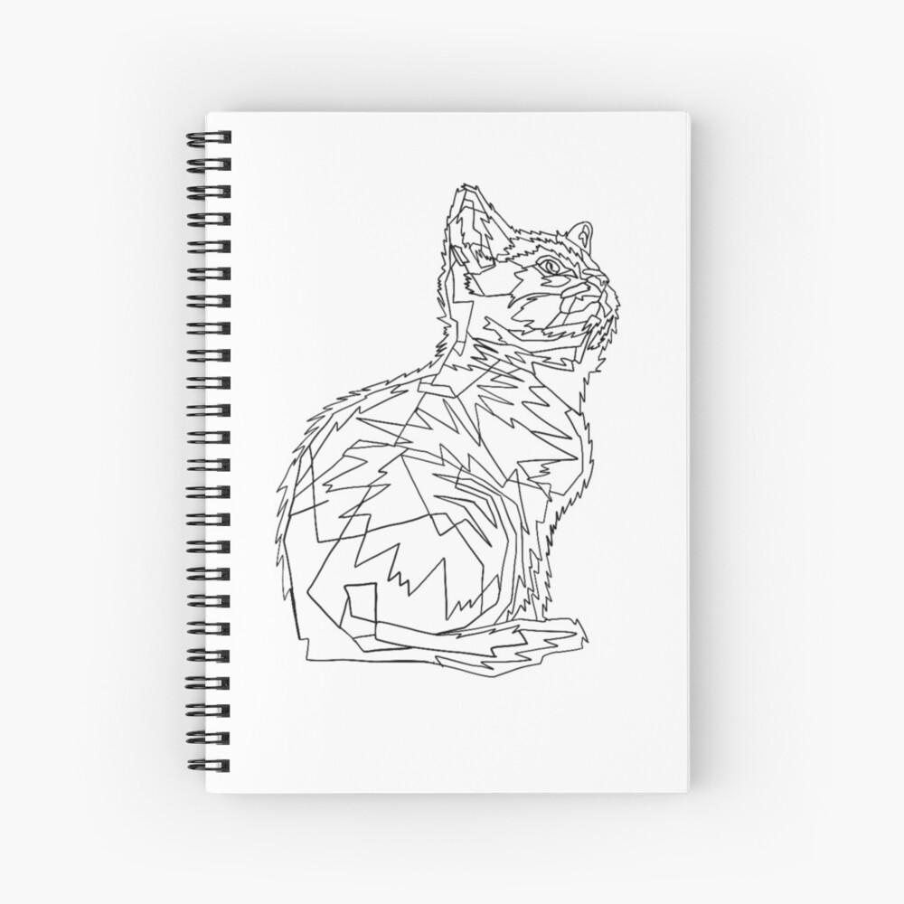 Geometric Cat Spiral Notebook