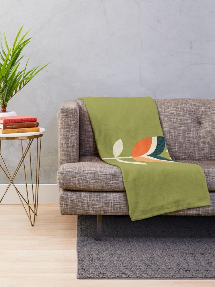 Alternative Ansicht von Retro Tulpe - Orange und Olivgrün Fleecedecke
