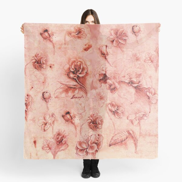 STUDY OF FLOWERS IN ANTIQUE RED PINK  Leonardo Da Vinci Drawings Scarf