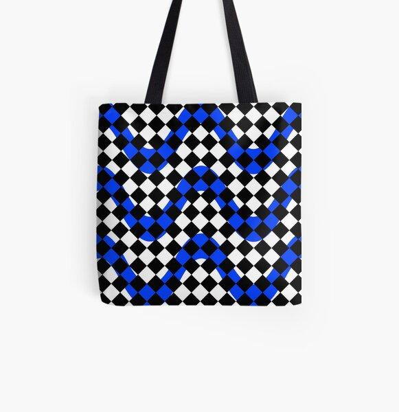 Black White & Blue Print All Over Print Tote Bag