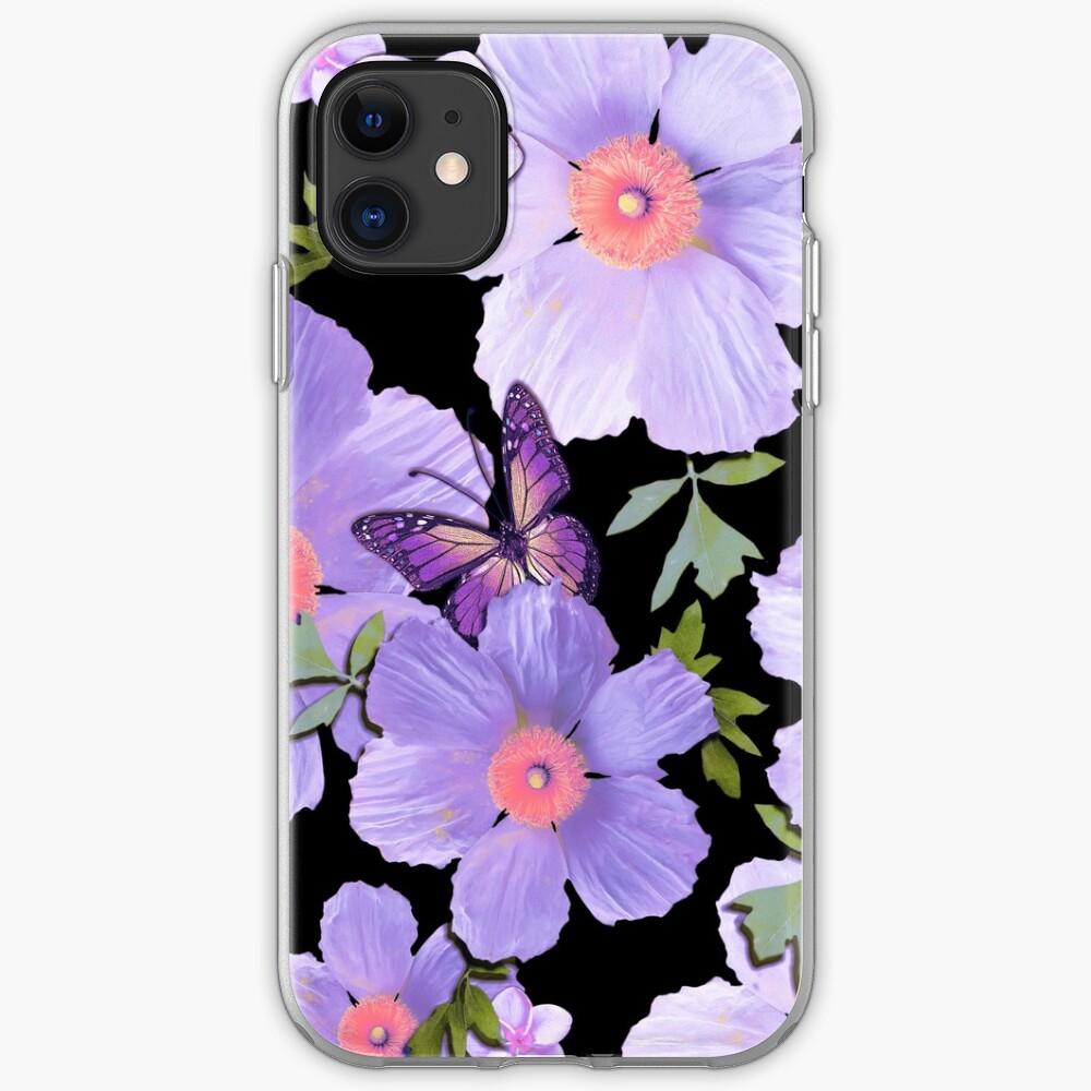 Matilija Poppies and Plumeria Purple iPhone Case & Cover