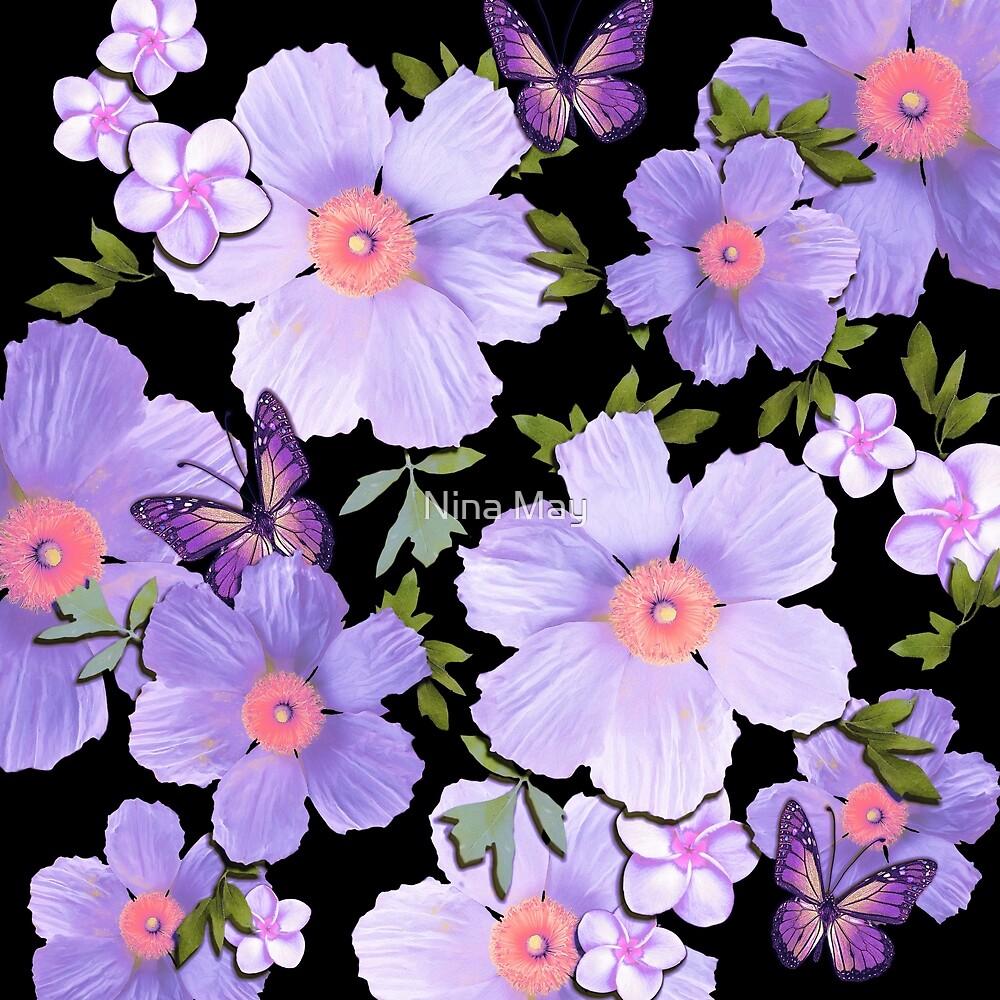 Matilija Poppies and Plumeria Purple by Nina May