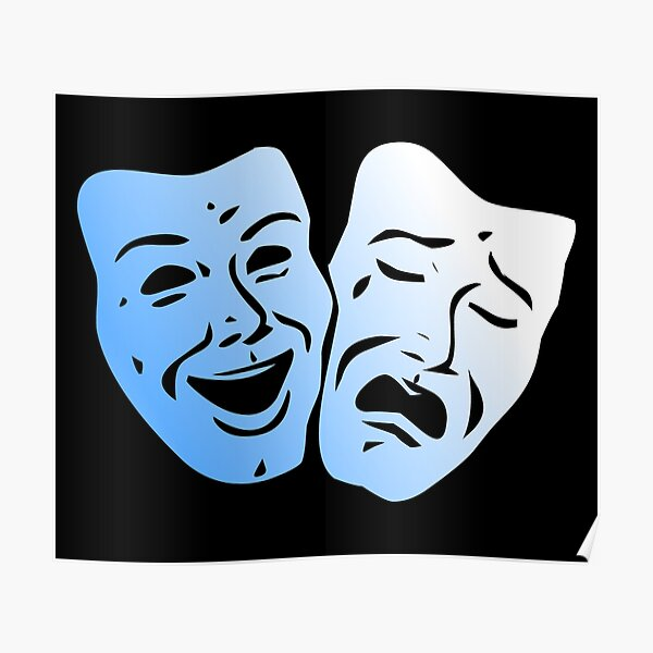 Blue Pearl Theater Masks Poster
