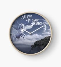 Winged Unicorn Shirt, Believe In Your Dreams  Clock