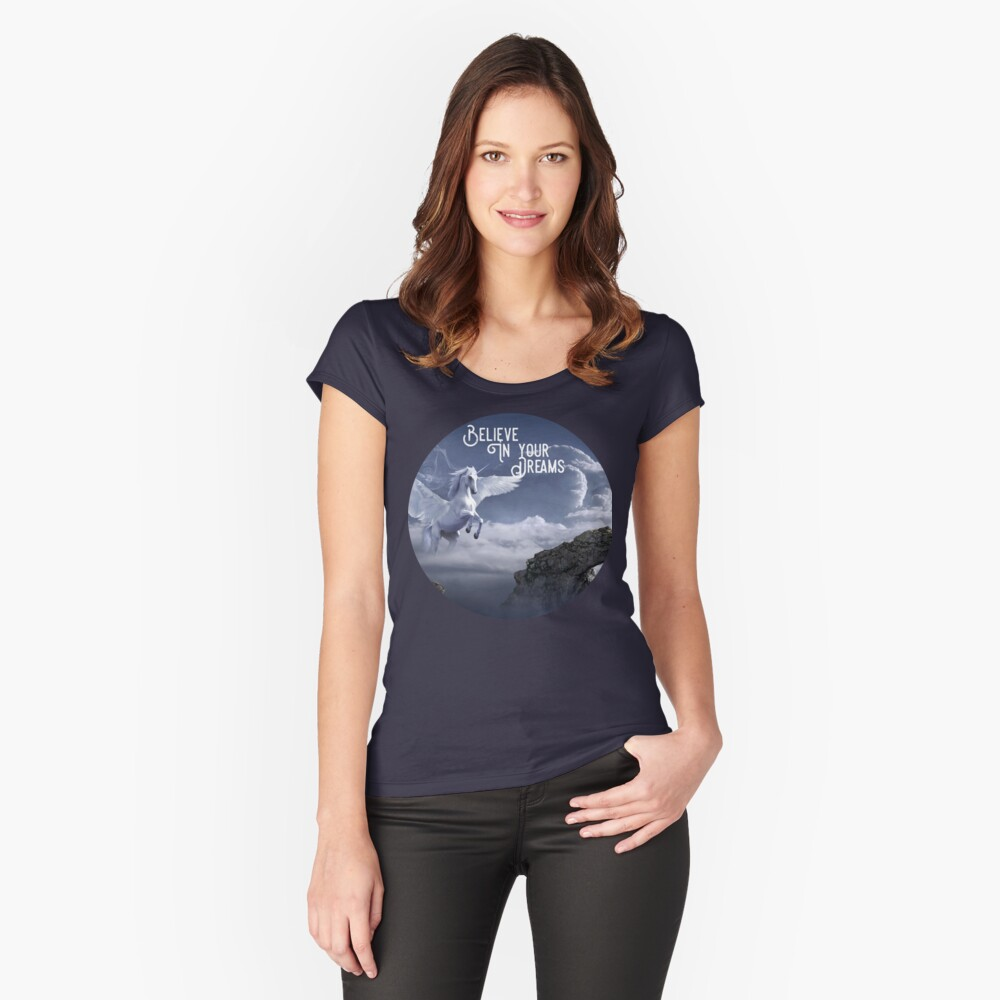 Winged Unicorn Shirt, Believe In Your Dreams  Fitted Scoop T-Shirt