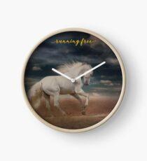 """White Horse Running on Beach Shirt, """"Running Free"""" Clock"""
