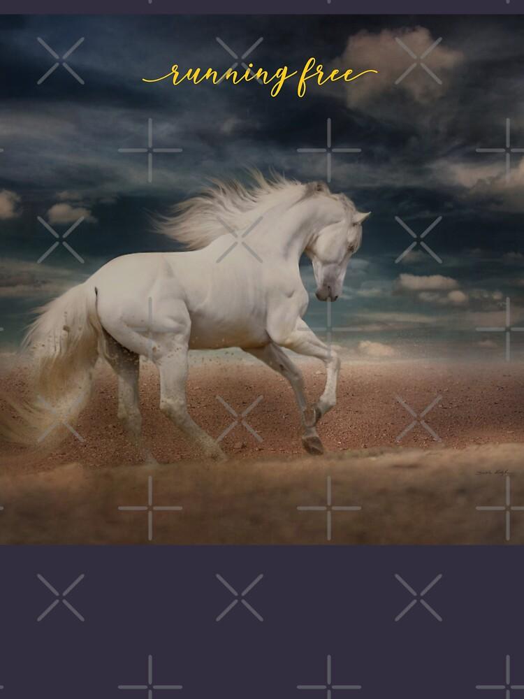 """White Horse Running on Beach Shirt, """"Running Free"""" by maryspeer"""