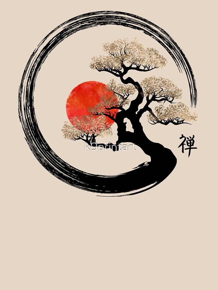 Enso Circle and Bonsai Tree on Canvas by k9printart