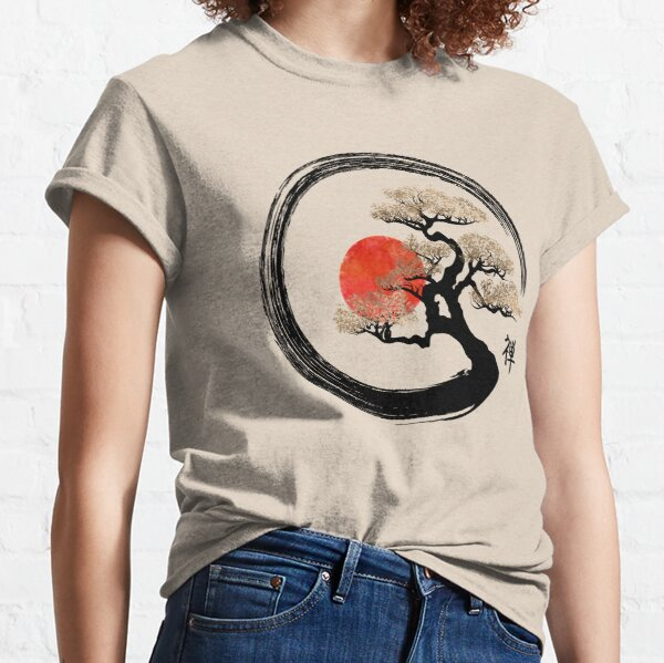 Enso Circle und Bonsai Tree auf Leinwand Classic T-Shirt